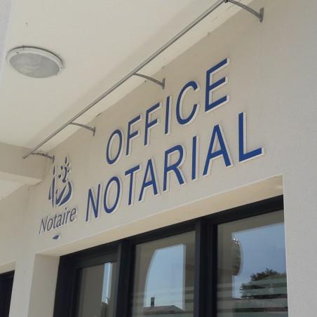Office Notarial Enseigne PVC épaisseur 19 mm teinté sur face avant et chants brut