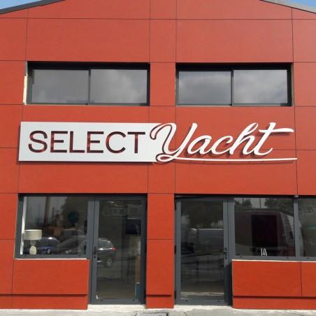 Select Yacht en dibond lettres découpées moitié pochoir