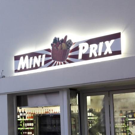 Mini Prix en dibond lettres découpées en pochoir lumineuse rétroéclairé à LED