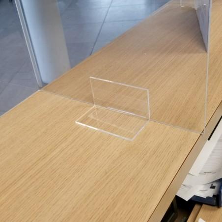 Hygiaphone vitre de protection plexiglas avec pliage de chaque côté