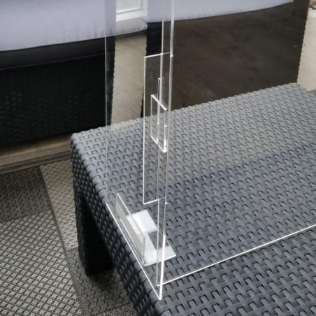 Hygiaphone vitre de protection plexiglas avec rabats de chaque côtés amovibles