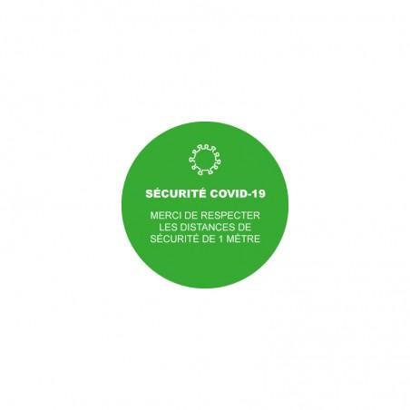 """Sticker rond marquage au sol """"Sécurité Covid-19"""""""