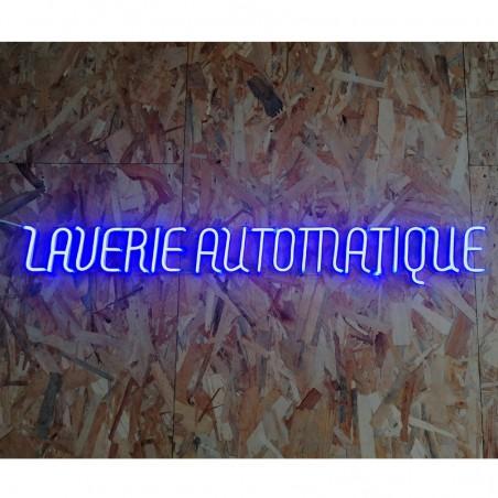Enseigne Néon LED bleu Laverie Automatique plexiglas transparent découpe à la forme