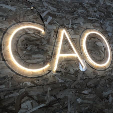 Enseigne Néon LED Blanc CAO Plexiglas transparent découpe à la forme