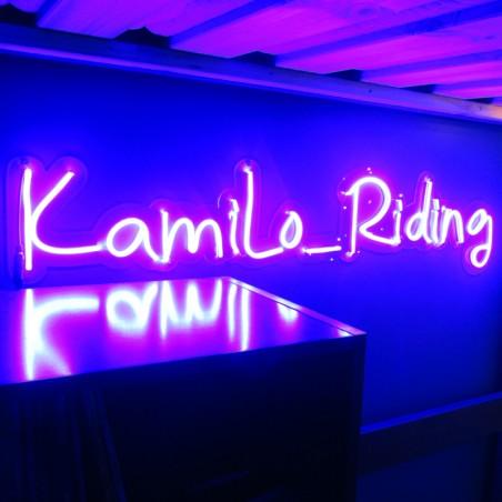 Enseigne Néon LED Bleu Logo et plexiglas transparent découpe à la forme, Kamilo_Riding