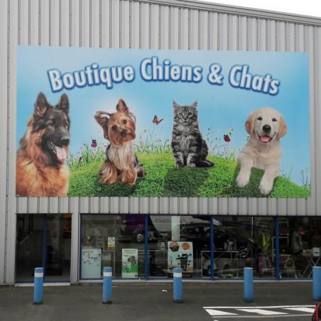 Enseigne boutique Chiens & Chats plaque dibond impression adhésif