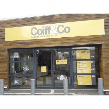 Enseigne coiffeur Coiff & Co plaque dibond impression adhésif