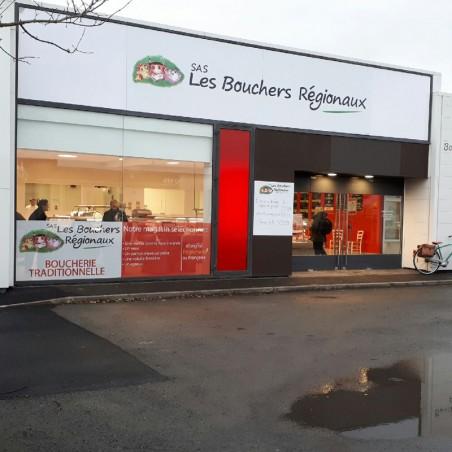 Enseigne Les Bouchers Régionaux plaque dibond impression adhésif